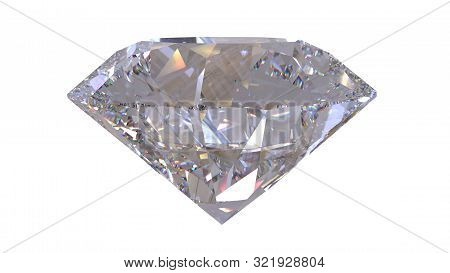 Close-up Diamond Isolated On White 3d Rendering Model. Isolated. Render