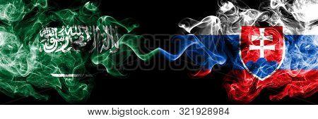 Saudi Arabia Kingdom Vs Slovakia, Slovakian Smoky Mystic Flags Placed Side By Side. Thick Colored Si