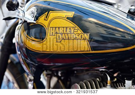 Moscow, Russia - Sept 7, 2019: Harley Davidson Logo On A Black Motorcycle. Harley Davidson Is An Ame