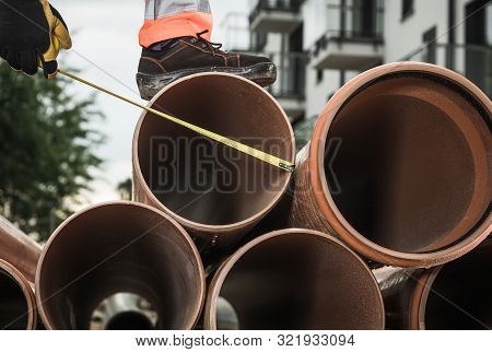 Large Sanitary Pipeline Installation. Construction Industry Theme. Foul Sewer. poster