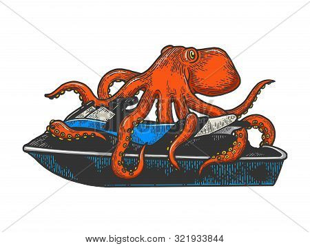 Octopus On Jetski Water Bike Sketch Engraving Vector Illustration. Tee Shirt Apparel Print Design. S