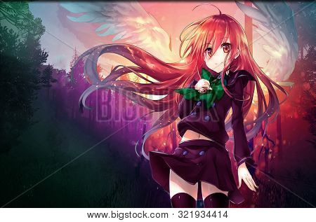 Cute Anime Girl With Red Eyes And Long Hair