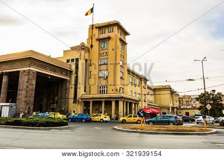 Facade Of Bucharest North Railway Station Or Gara De Nord Bucuresti