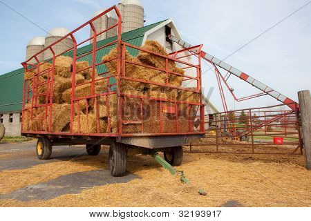 Farm Wagon With Bales Of Straw