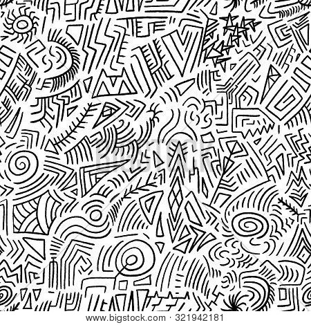 Seamless Doodle Vector Texture - Quirky Tribal Drawing.