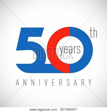 50 Th Anniversary Numbers. 50 Years Old Congrats, Colorful Logotype. Congratulation Idea. Isolated A