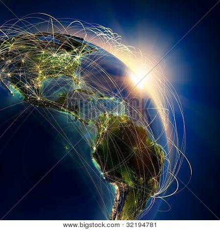 La principal ruta de aire sobre Centroamérica