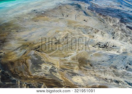Aerial View Of Surrealistic Industrial Place. Human Impact On The Environment..degraded Landscape.de