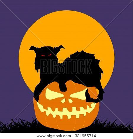 Halloween Spooky Feral Cat Silhouette On Hand Drawn Pumpkin Over Purple Background