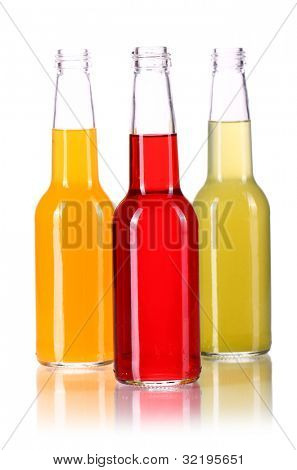 Bottles with colorful cocktail over white background