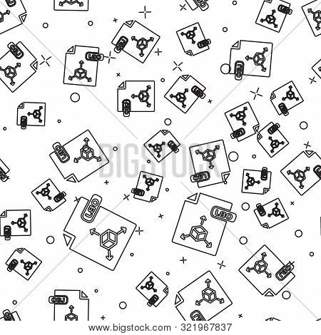 Black Line Obj File Document. Download Obj Button Icon Isolated Seamless Pattern On White Background