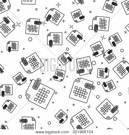 Black Line Png File Document. Download Png Button Icon Isolated Seamless Pattern On White Background