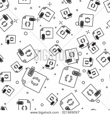 Black Line Css File Document. Download Css Button Icon Isolated Seamless Pattern On White Background