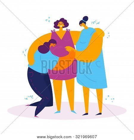 Homosexual Female Lgbt Couple With A Pregnant Surrogate Mother.two Gay Women Rejoice That They Will
