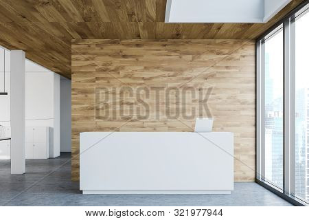 Reception Table In White And Wooden Office
