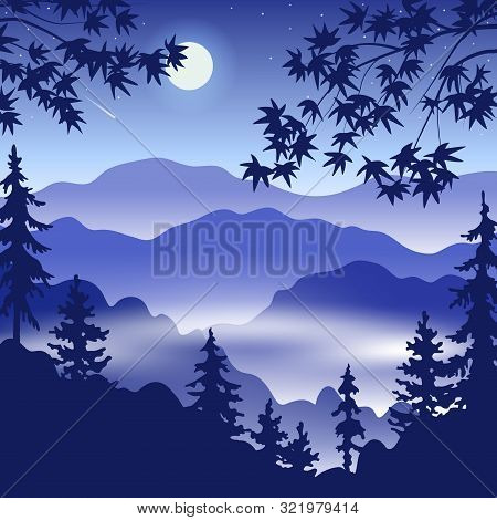 Simple Night Landscape With Silhouette Of Foggy Mountains, Fir Trees, Full Moon And Japanese Maple B