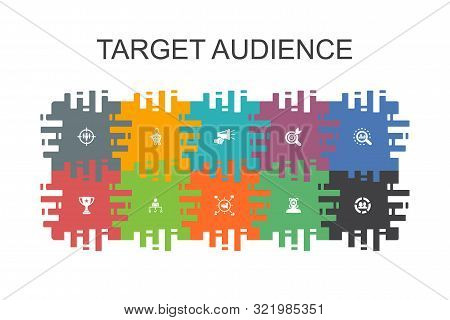 Target Audience Cartoon Template With Flat Elements. Contains Such Icons As Consumer, Demographics,