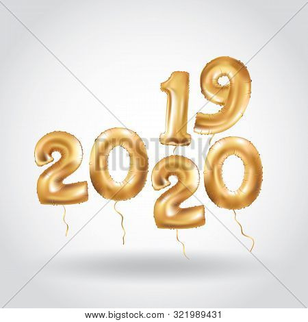 Happy New Year 2019 2020 Year After Year. Metallic Gold Balloons. Golden Letter Balloon, 2020 Happy