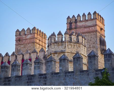 El Puerto De Santa Maria, Spain - June 22, 2019. Principal Facade Of The San Marcos Castle. View Fro