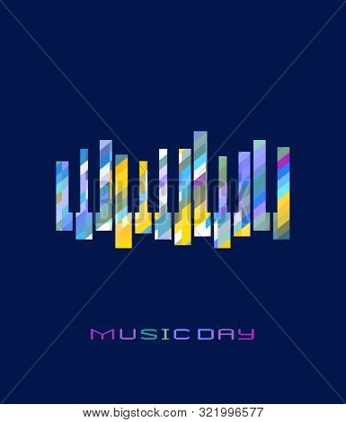 Piano Keyboard Hand Drawn Flat Color Music Vector Icon. Creative Stylized Piano Sign Silhouette Desi