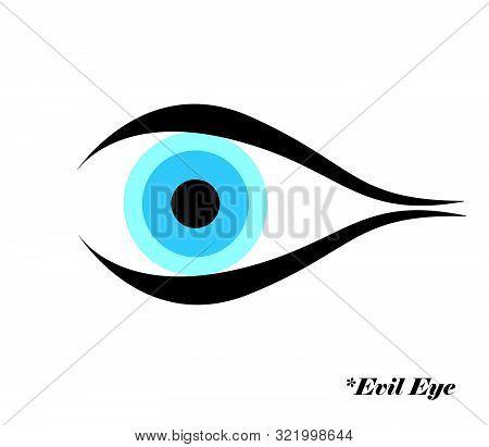 Evil Eye Vector Illustration With Evil Eye Logo - Greek And Turkish Symbol Of Protection