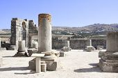Ruins and columns of the Basilica in Volubilis, Roman city near to Meknes, the ancient capital of Mauritania. Morocco, North Africa. UNESCO world heritage site poster