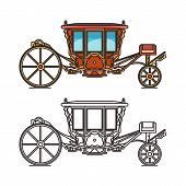 Medieval royal carriage icons or wedding chariot poster