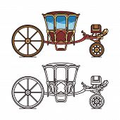 Retro chariot for weddings or old buggy, carriage poster