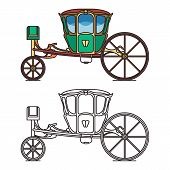 Green retro buggy or king horse chariot, carriage poster