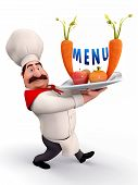 3D illustration of Happy Chef with menu card isolated with white background poster