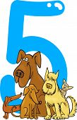 cartoon illustration with number five and dogs poster
