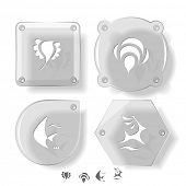 Animal icon set. Deer, bird, bee, fish.  Glass buttons. Vector illustration. Eps10. poster