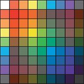 Polychrome Multicolor Spectral Rainbow Grid of 9x9 segments. The spectral harmonic colorful overlay mixed palette of the painter. poster