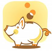 Stylized piggy bank and coin on a yellow background. poster