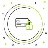 Black and green line Credit card with lock icon on white background. Locked bank card. Security, safety, protection concept. Concept of a safe payment. Colorful outline concept. Vector Illustration poster