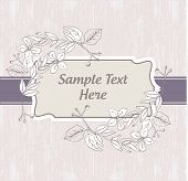 Vintage retro invitation with decorative floral elements poster