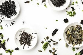 Dry Seaweed, Sea Vegetables, Shot From Above On White, Forming A Frame. Superfoods Background With A