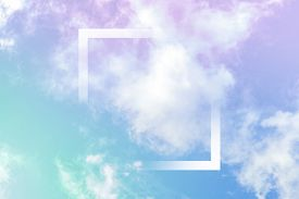 Neon Pastel Toned Abstract Sky Background With Clouds And A Frame, A Design Template With A Place Fo