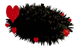 Red Hearts On Black Bubble