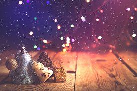 Christmas Decor With Bright Bokeh Lights. Magic Winter At Christmas Time