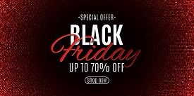 Black Friday Banner. Halftone Pattern And Stylish Lettering. Red Glitter. Grand Seasonal Sale. Poste