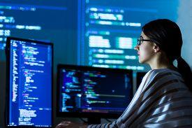 Software Developer Freelancer Woman Female In Glasses Work With Program Code C++ Java Javascript On