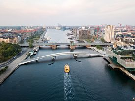 Copenhagen, Denmark - August 27, 2019: Aerial Drone View Of The Old Bridge Langebro And The Modern P