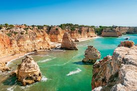 The Marinha Beach In Portimao, Algarve Portugal.