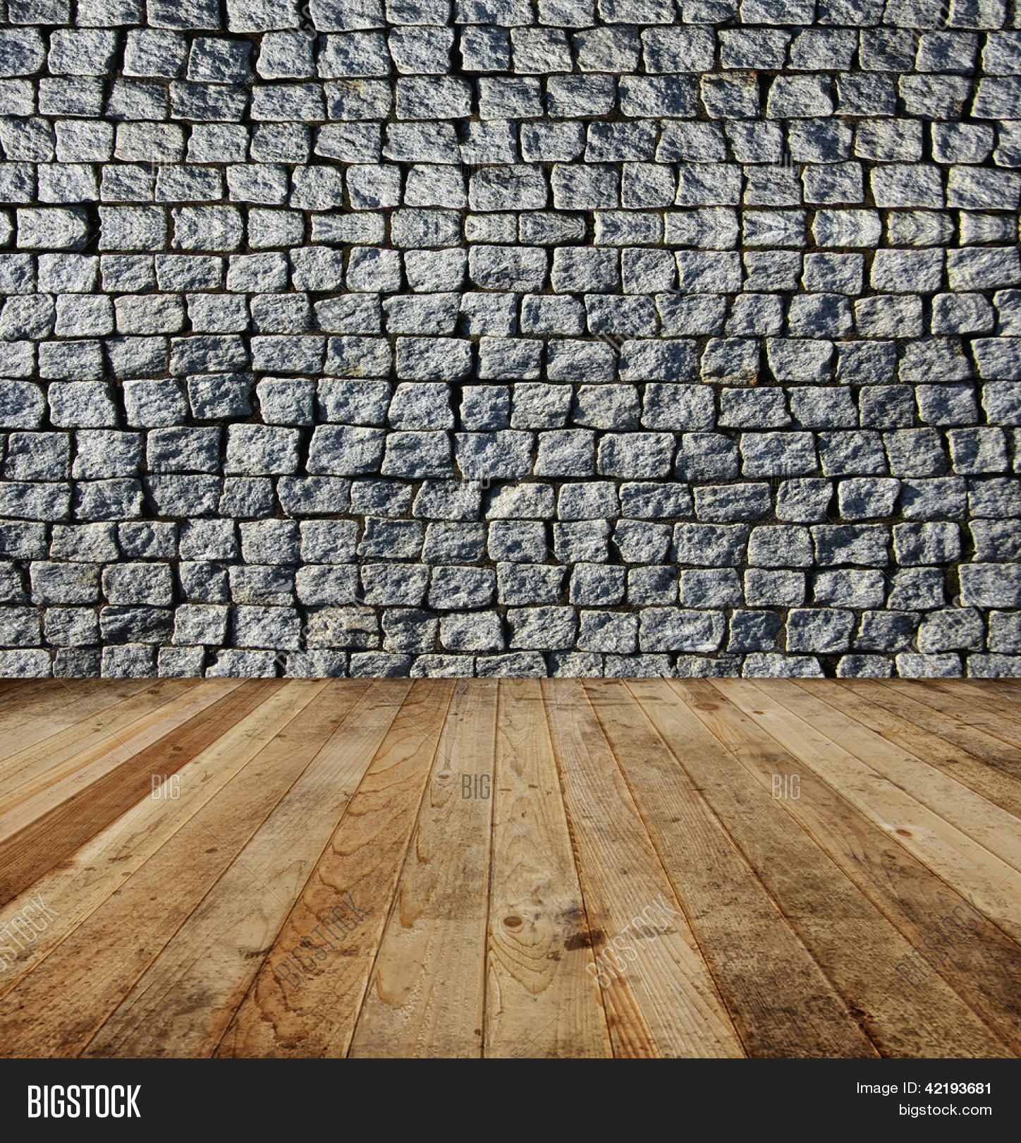 Old Grey Square Brick Wall And Wooden Floor