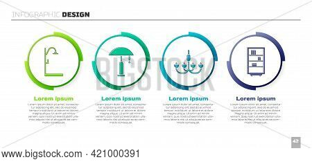 Set Shower, Table Lamp, Chandelier And Library Bookshelf. Business Infographic Template. Vector