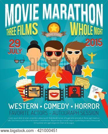 Movie Marathon Promo Poster With Actors Portraits Flat Vector Illustration