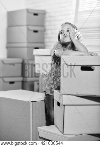 Packaging Things. Stressful Situation. Divorce And Separation. Family Problem. Forced To Move. Girl