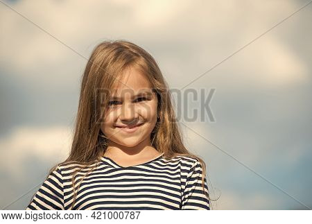 Smile With Confidence. Happy Kid Smile On Cloudy Sky. Small Child With Cute Smile. Teeth Health. Den