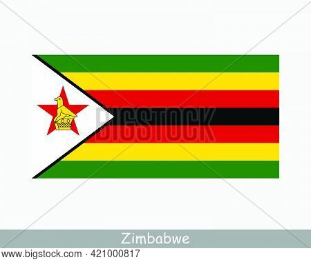 National Flag Of Zimbabwe. Zimbabwean Country Flag. Republic Of Zimbabwe Detailed Banner. Eps Vector
